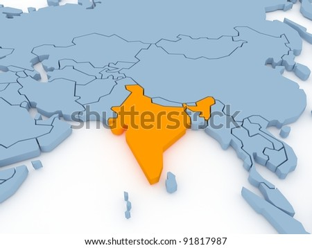Three-dimensional map of India isolated. 3d - stock photo