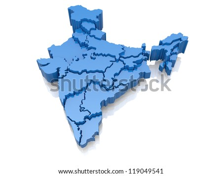 Three-dimensional map of India on white background. 3d - stock photo