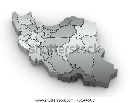 Three-dimensional map of Iran on white isolated background. 3d