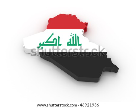 Three dimensional map of Iraq in Iraqi flag colors. - stock photo