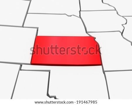 Three Dimensional Map Of Kansas Usa 3d