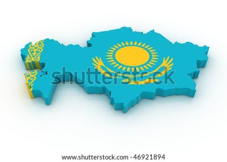 Three dimensional map of Kazahstan in Kazahstan flag colors. - stock photo