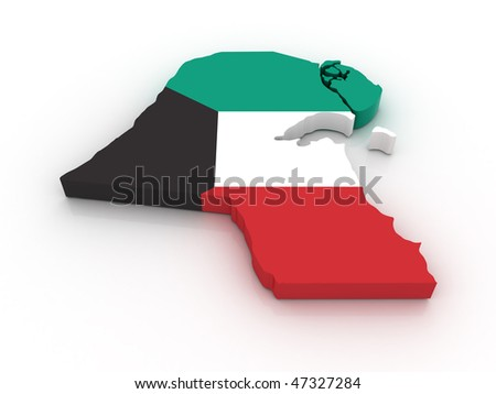 Three dimensional map of Kuwait in Kuwaiti flag colors.