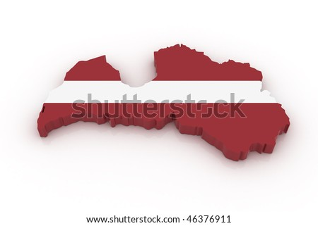 Three dimensional map of Latvia in Latvian flag colors. - stock photo