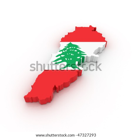 Three dimensional map of Lebanon in Lebanese flag colors. - stock photo