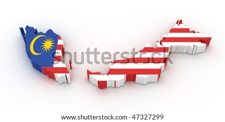 Three dimensional map of Malaysia in Malaysian flag colors. - stock photo