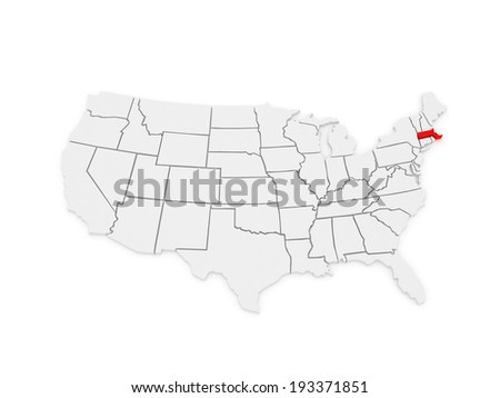 Three-dimensional map of Massachusetts. USA. 3d