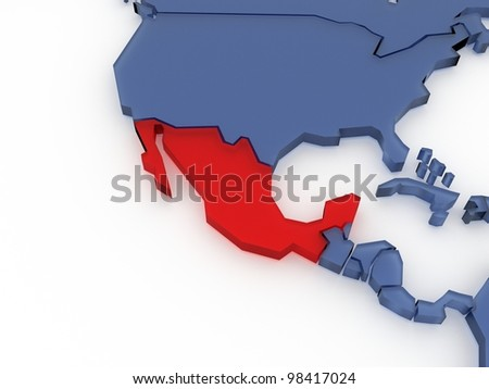Three-dimensional map of Mexico isolated. 3d - stock photo