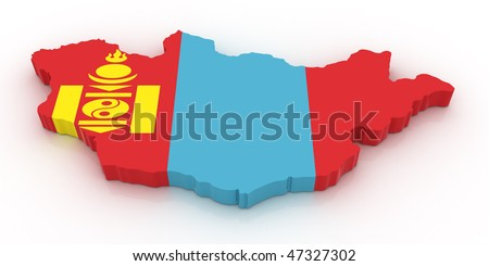 Three dimensional map of Mongolia in Mongolian flag colors. - stock photo