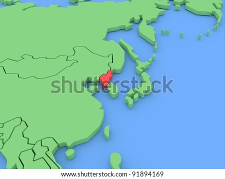 Three-dimensional map of North Korea isolated. 3d - stock photo