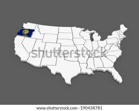 United States America Map D Illustration Stock Vector - Oregon usa map