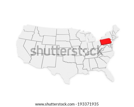 Three-dimensional map of Pennsylvania. USA. 3d - stock photo