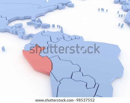 Three-dimensional map of Peru isolated. 3d - stock photo