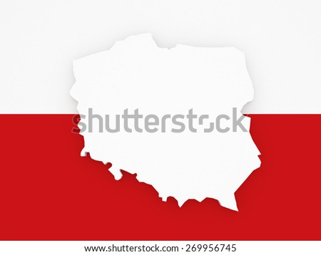 Three-dimensional map of Poland. 3d - stock photo