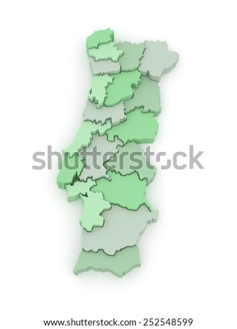 Three-dimensional map of Portugal. 3d - stock photo
