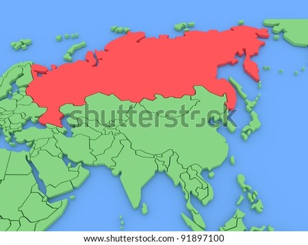 Three-dimensional map of Russia isolated. 3d - stock photo