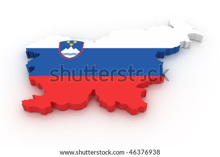Three dimensional map of Slovenia in Slovenian flag colors. - stock photo