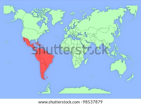 Three-dimensional map of South-America isolated.