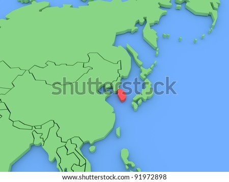 Three-dimensional map of South Korea isolated. 3d - stock photo