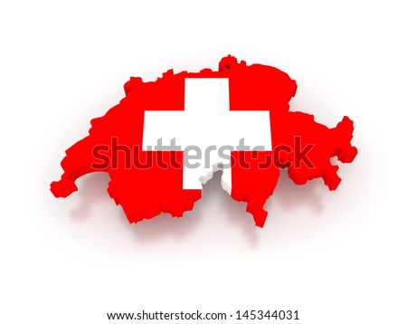 Three-dimensional map of Switzerland. 3d