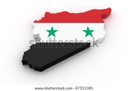 Three dimensional map of Syria in Syrian flag colors. - stock photo
