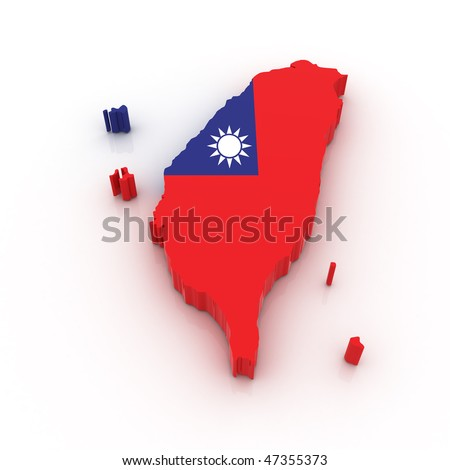 Three dimensional map of Taiwan in Taiwan flag colors. - stock photo
