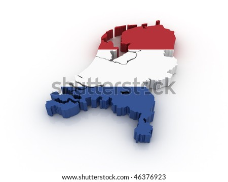 Three dimensional map of the Netherlands in Dutch flag colors.