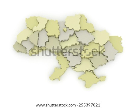 Three-dimensional map of Ukraine. 3d - stock photo
