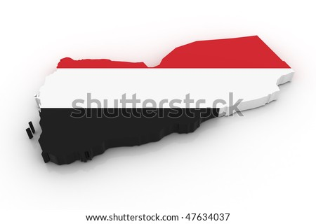 Three dimensional map of Yemen in Yemen flag colors. - stock photo