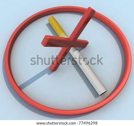Three-dimensional mark, no smoking - stock photo