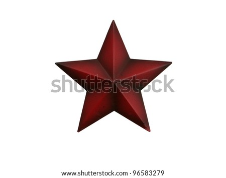 Three-dimensional metal red star isolated on white background - stock photo