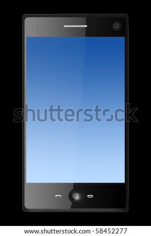 three dimensional mobile phone isolated on black - stock photo