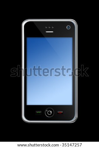 three dimensional mobile phone isolated on black whith clipping path - stock photo