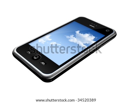 three dimensional mobile phone isolated on white - stock photo