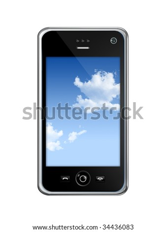 three dimensional mobile phone isolated on white whith clipping path - stock photo