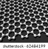 three-dimensional model crystal lattice graphene - stock photo