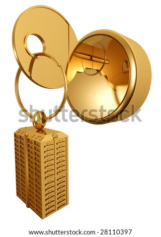Three-dimensional model of a gold key, with a charm in the form of the house - stock photo
