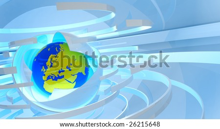 Three-dimensional model of globe against an abstract background