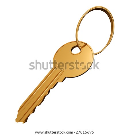 Three-dimensional model of gold key and a ring on a white background - stock photo