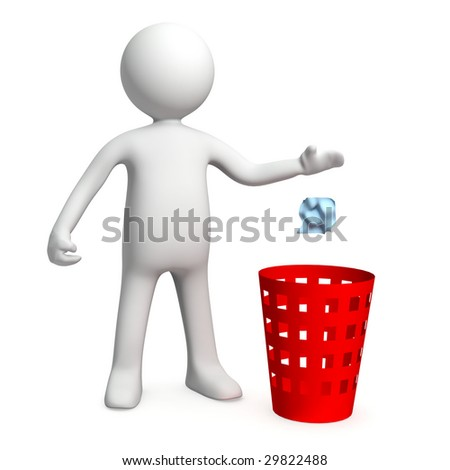 Three-dimensional model of the person throwing out a paper in a garbage basket - stock photo