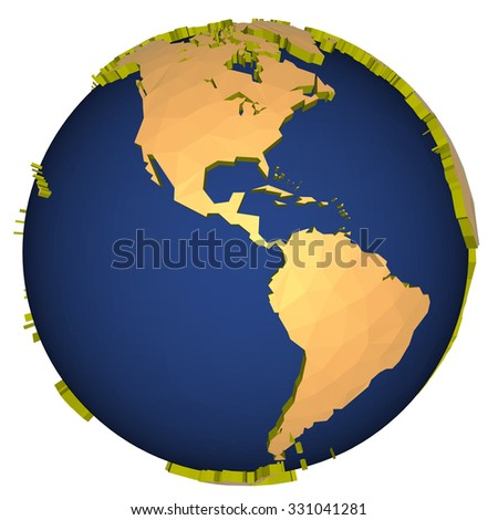 three-dimensional model of the planet earth - america - stock photo