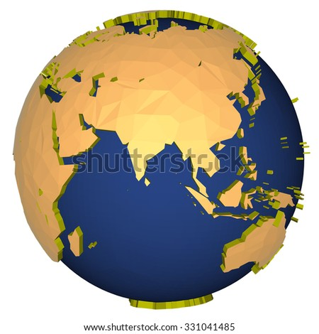 three-dimensional model of the planet earth - asia - stock photo
