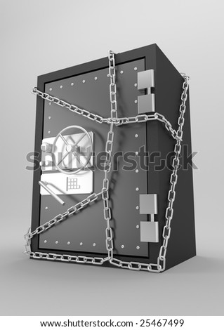 Three-dimensional model of the steel safe with a coded lock - stock photo