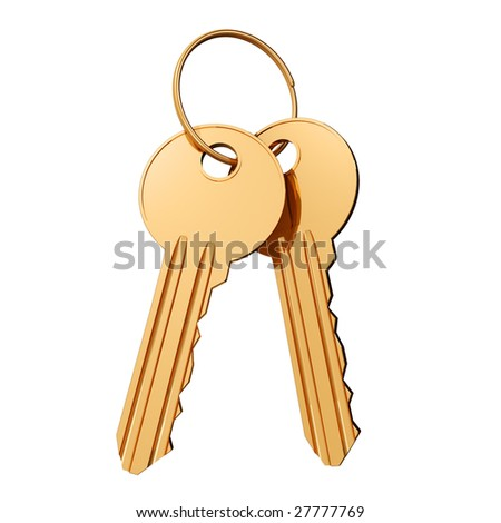 Three-dimensional model of two gold keys and a ring on a white background - stock photo