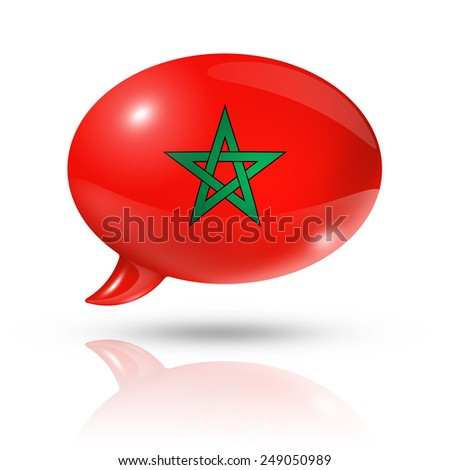 three dimensional Morocco flag in a speech bubble isolated on white with clipping path - stock photo