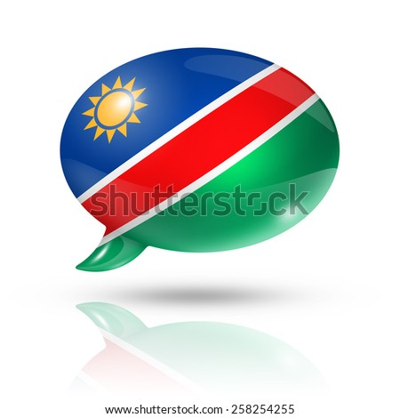 three dimensional Namibia flag in a speech bubble isolated on white with clipping path - stock photo