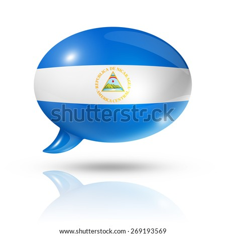 three dimensional Nicaragua flag in a speech bubble isolated on white with clipping path - stock photo