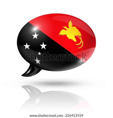 three dimensional Papua New Guinea flag in a speech bubble isolated on white with clipping path - stock photo