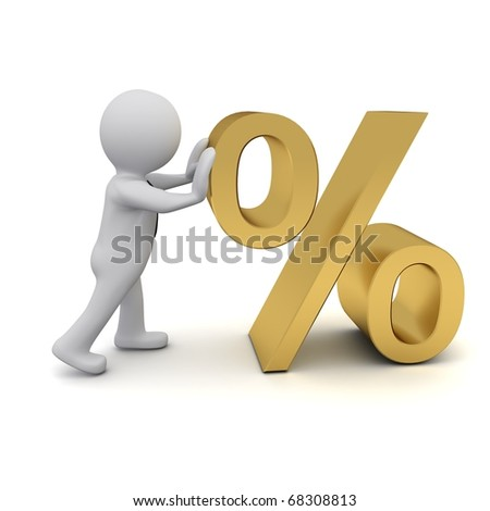 "Three-dimensional people and the percent sign of the yellow metal.Series ""3D Man"" - stock photo"