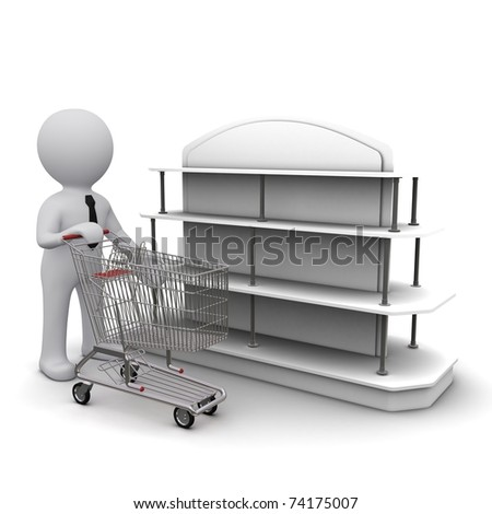 Three-dimensional people with a cart in the hands near the shelf shopping deals - stock photo